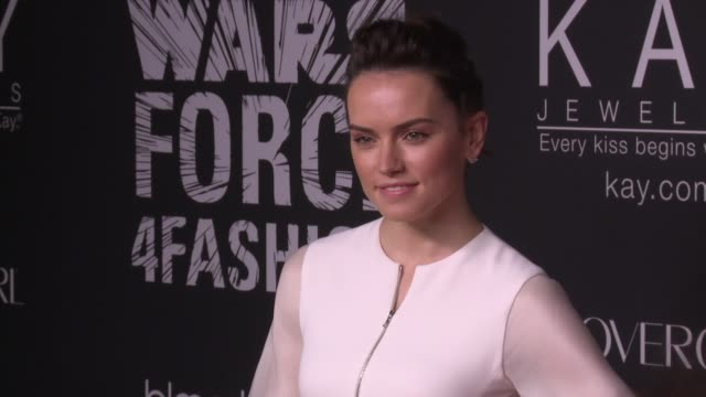 INTERVIEW Daisy Ridley talks about how Star Wars and fashion both push creative boundaries at Star Wars 'Force 4 Fashion' Event at Skylight Modern on...