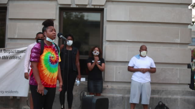 daja palmer speaks during a community gathering to fight against racism protesters are demanding justice for vauhxx booker who was apparently the... - knickers stock videos & royalty-free footage