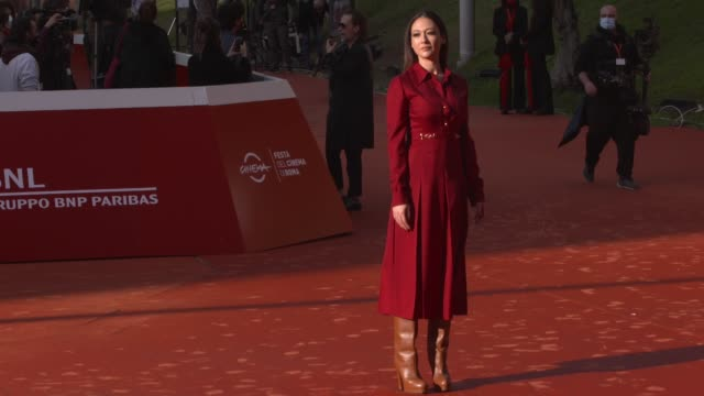 dajana roncione walks the red carpet during the 15th rome film festival on october 24, 2020 in rome, italy. - rome film festival点の映像素材/bロール