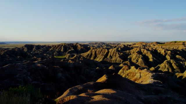 dakota badlands view of desert valley buttes usa - wildlife conservation stock videos & royalty-free footage