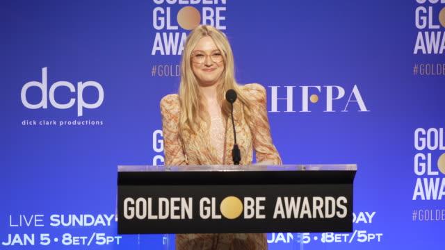 vídeos y material grabado en eventos de stock de dakota fanning announces the golden globe nominees at the 77th annual golden globe® nominations at the beverly hilton hotel on december 09, 2019 in... - the beverly hilton hotel