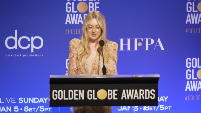 announcement dakota fanning announces the golden globe nominees at the 77th annual golden globe® nominations at the beverly hilton hotel on december... - ノミネート点の映像素材/bロール