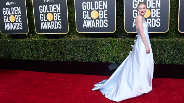 dakota fanning arrives to the 76th annual golden globe awards held at the beverly hilton hotel on january 6, 2019 - the beverly hilton hotel点の映像素材/bロール