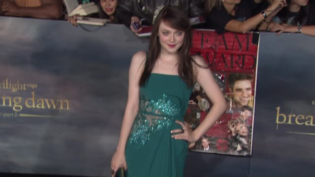dakota fanning at the twilight saga: breaking dawn - part two los angeles premiere on 11/12/12 in los angeles, ca - twilight stock videos & royalty-free footage