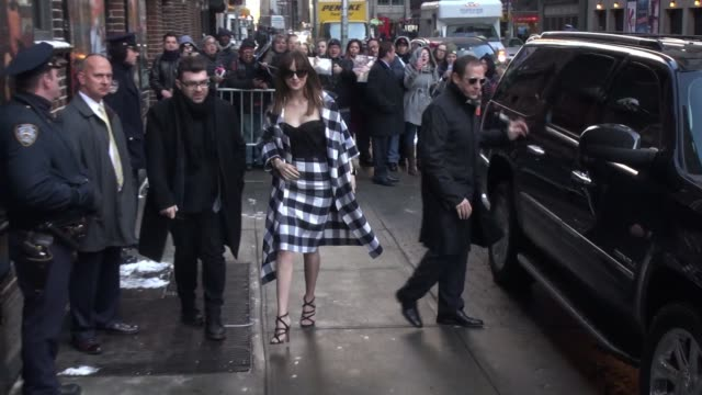 dakota johnson arrives at the late show with david letterman in celebrity sightings in new york, - talk show stock videos & royalty-free footage