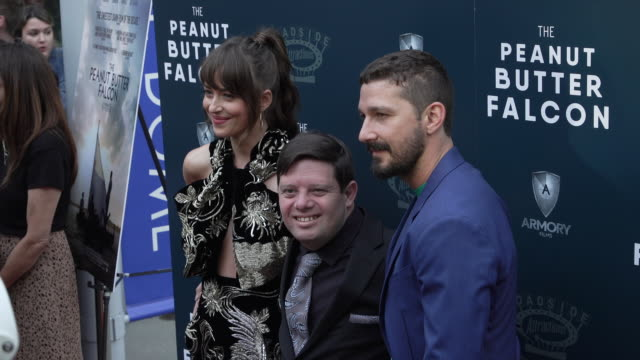 """dakota johnson, shia labeouf and zack gottsagen at the special screening of """"the peanut butter falcon"""" at arclight hollywood on august 01, 2019 in... - shia labeouf stock videos & royalty-free footage"""