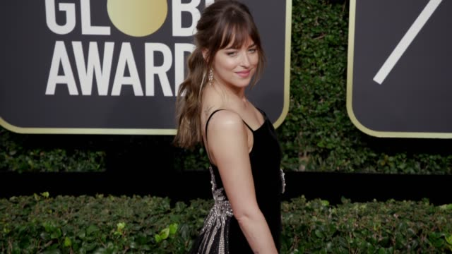 dakota johnson t the 75th annual golden globe awards at the beverly hilton hotel on january 07, 2018 in beverly hills, california. - golden globe awards stock videos & royalty-free footage