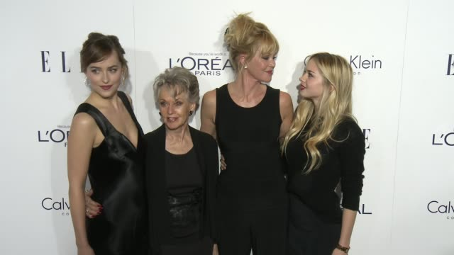 dakota johnson, tippi hedren, melanie griffith, and stella banderas at the 2015 elle women in hollywood awards at four seasons hotel los angeles at... - tippi hedren stock videos & royalty-free footage