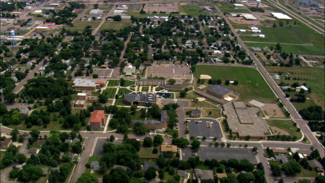 dakota wesleyan university  - aerial view - south dakota, davison county, united states - south dakota stock videos & royalty-free footage
