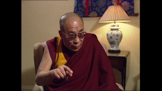 part one; england: london: int interview 4 of 5 14th dalai lama interview sot - answer continued from part 3 - in many western countries the people... - other stock videos & royalty-free footage