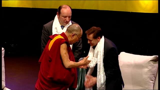 Dalai Lama speech at Royal Albert Hall Audeince applaud as Dalai Lama shakes hands and leaves stage SOT