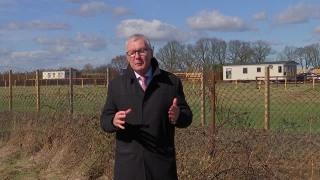 'dale farm mark 2' feared as travellers tarmac huge patch of green belt land in essex; england: essex: wickford: ext reporter to camera static mobile... - itv london tonight stock-videos und b-roll-filmmaterial