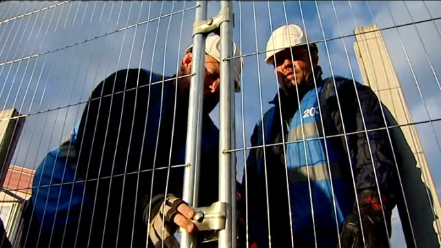 dale farm travellers' site evictions travellers leave site england essex dale farm ext scaffolding barricades removed with digger scaffolding tower... - dismantling stock videos and b-roll footage