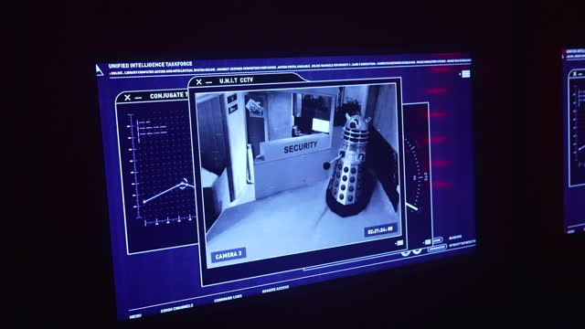 dalek attack on monitor during the doctor who: time fracture set press preview at immersive ldn on may 27, 2021 in london, england. - doctor who stock videos & royalty-free footage