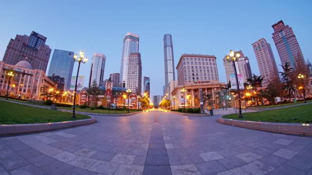 Dalian Zhongshan Square.Day to night