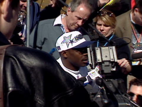 dallas cowboy player speaks to reporters prior to super bowl xxx. - nfc east stock videos & royalty-free footage