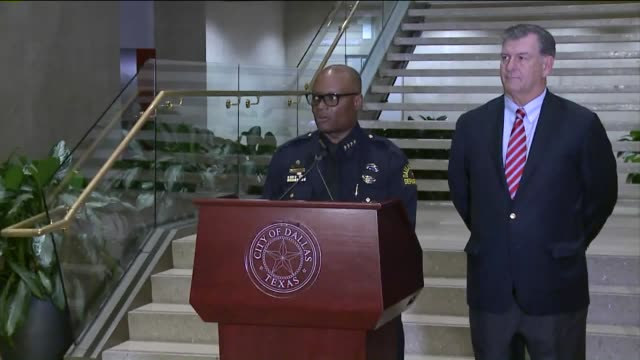 kdaf dallas police chief talks about negotiations with downtown dallas cop shooter who targeted shot and killed police officers at the end of a black... - police chief stock videos and b-roll footage
