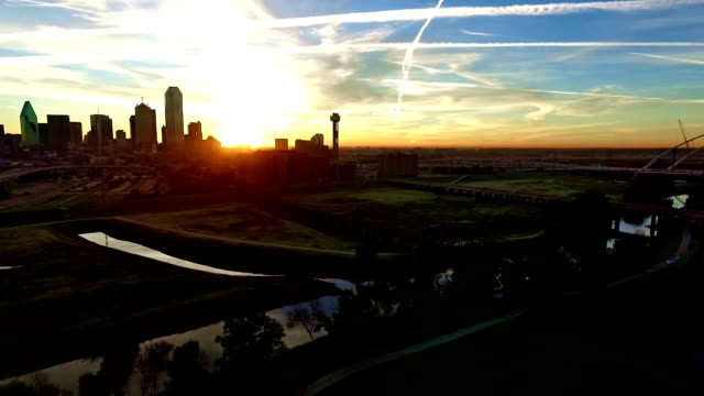 Dallas Texas Aerial over Train Tracks and Trinity River Overlook Park Reunion Tower and Skyline Cityscape