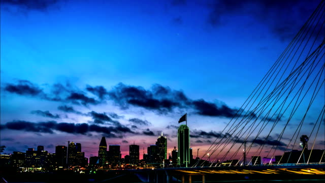 dallas tx 6-17-2017:this time lapse video of downtown dallas was taken from the continental ave. walking bridge and covers the sunrise from early dawn to sun up. - dallas stock videos & royalty-free footage