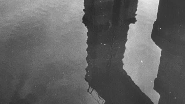 vídeos y material grabado en eventos de stock de 1949 montage dam and reservoir, with fish swimming into a fish lift shaft to raise them past it / united kingdom - banco de peces