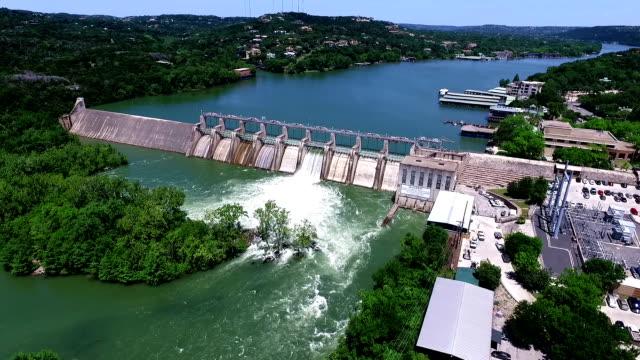 Dam Opens Flood Gates along Colorado River near Austin Texas