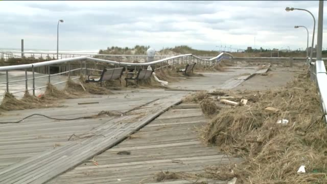 Damage in Nassau County on Long Island 14 Days After Hurricane Sandy Hit Boardwalk Railing and Flooring is Raised on November 12 2012 in Wantagh New...
