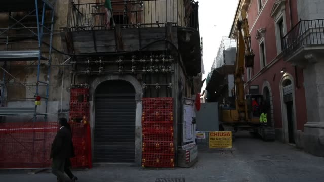 A damaged building in L'Aquila on March 21 2017 The Eighth anniversary of the L'Aquila earthquake will be marked on 06 April 2017 commemorating the...