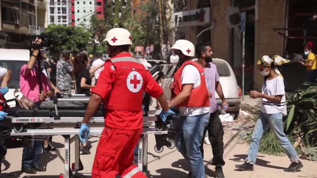 damaged buildings are seen the day after a massive explosion at the port on august 5, 2020 in beirut, lebanon. according to the lebanese red cross,... - port said stock videos & royalty-free footage