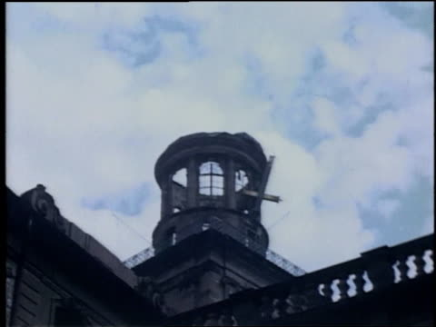 td damaged buildings on street / wiesbaden germany - postwar stock videos & royalty-free footage
