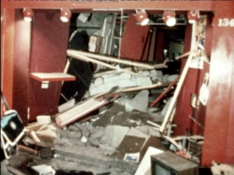 damaged bus and internal shots of wrecked public house following bomb attack 21 november 1974 - birmingham england stock videos & royalty-free footage