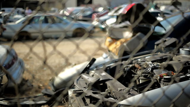 damaged cars from traffic accident - junkyard stock videos and b-roll footage