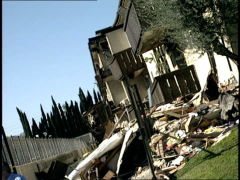 damaged homes after the northridge earthquake - northridge stock videos & royalty-free footage