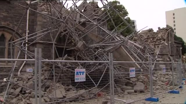 damaged provincial chambers building with fallen bricks and partially collapsed roof. - christchurch stock-videos und b-roll-filmmaterial
