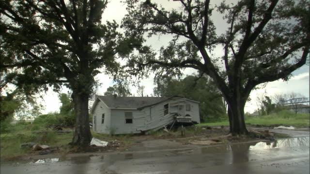 ws, damaged suburban house between two trees, louisiana, usa - hurricane katrina stock videos and b-roll footage
