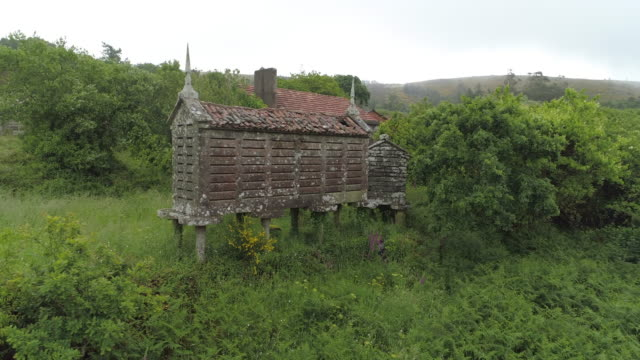damaged traditional barns amidst plants in village against sky - galicia, spain - galicia stock videos & royalty-free footage