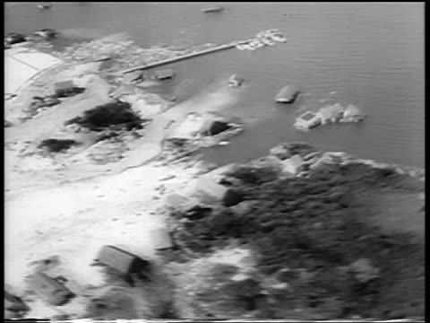 AERIAL damaged waterfront after hurricane / Northeast US / newsreel