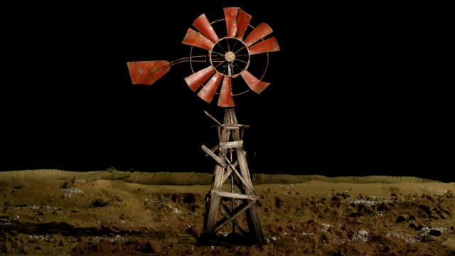 damaged windmill vista loop - matte image technique stock videos & royalty-free footage