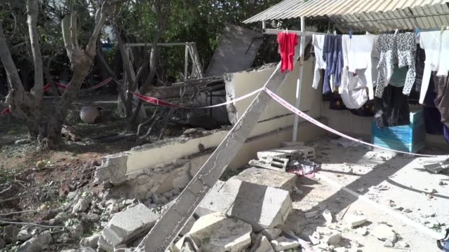 damages are seen after rockets launched overnight from the gaza strip gaza hit the israeli town of ashkelon near the gaza border killing one 58 year... - ashkelon stock videos and b-roll footage