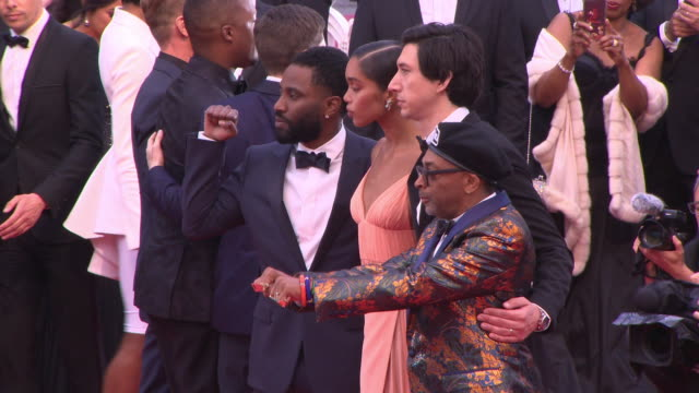 Damaris Lewis Jasper Paakkonen John David Washington Laura Harrier Topher Grace director Spike Lee Adam Driver Corey Hawkins at 'Blackkklansmann' Red...