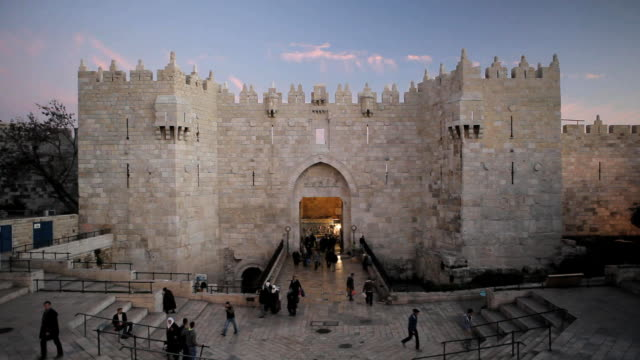 damascus gate the old city, jerusalem, israel, middle east - cancello video stock e b–roll