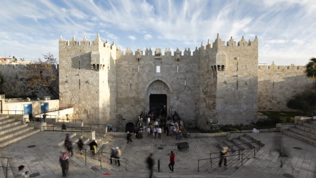 damascus gate, the old city, jerusalem, israel, middle east - cancello video stock e b–roll