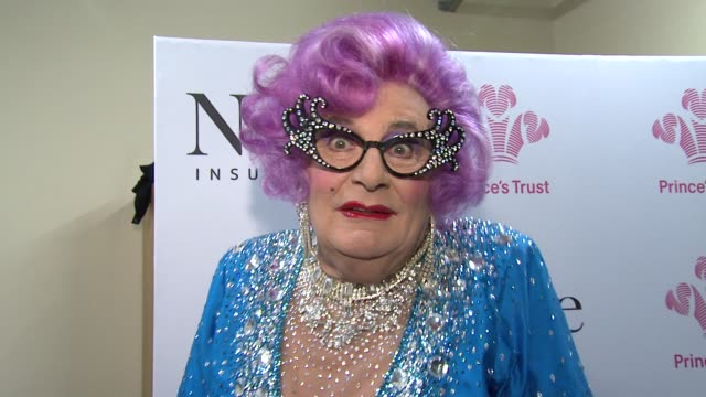 Dame Edna Everage on the work of The Prince's Trustand being the maid of honour at the Royal wedding *Guardian Telegraph Out* at The Prince's Trust...