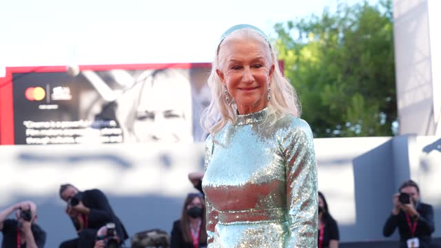 """dame helen mirren attends the red carpet of the movie """"madres paralelas"""" during the 78th venice international film festival on september 1, 2021 in... - helen mirren stock videos & royalty-free footage"""