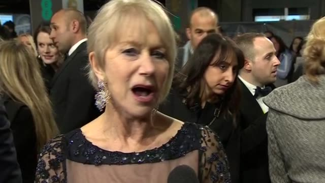 dame helen mirren gives her response to receiving the bafta fellowship during red carpet interview at the baftas 2014 - 2014 stock videos & royalty-free footage