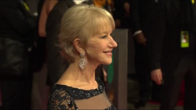 dame helen mirren poses for photographers at the baftas 2014 - 2014 stock videos & royalty-free footage