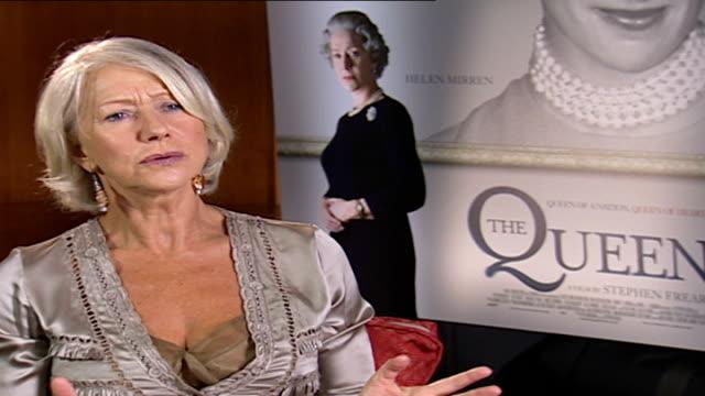 dame helen mirren talks about her role as queen elizabeth ii: interview; england: london: int dame helen mirren interview sot - talks about her role... - helen mirren stock videos & royalty-free footage