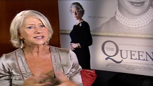 dame helen mirren talks about her role as queen elizabeth ii; savoy hotel: int helen mirren interview sot - she is a complete enigma / my job was... - helen mirren stock videos & royalty-free footage