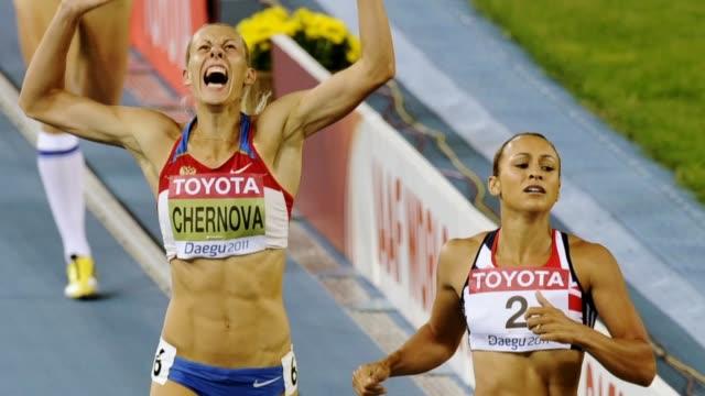 dame jessica ennis-hill to receive third world championship gold medal; england: yorkshire: sheffield: int various of dame jessica ennis-hill talkign... - 金メダル点の映像素材/bロール