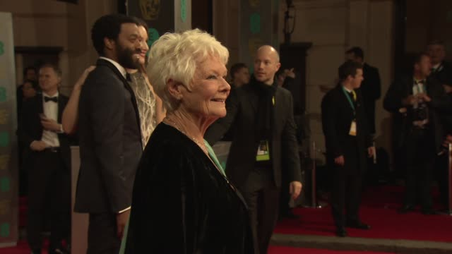 dame judi dench at ee british academy film awards at the royal opera house on february 16, 2014 in london, united kingdom. - ジュディ・デンチ点の映像素材/bロール