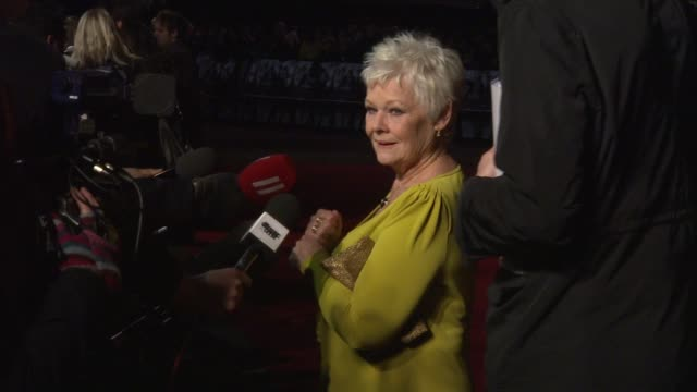 dame judi dench at the nine world premiere at london england - judi dench stock videos & royalty-free footage